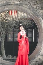 Chica China de estilo retro, falda roja, dinastía han