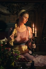 Retro style girl, candles, flame, fire, flowers, dark