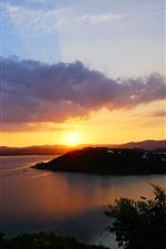 Aperçu iPhone fond d'écranRivière, île, nuages, coucher de soleil