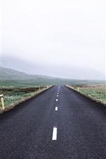Carretera, campos, cerros, ovejas, mañana, niebla.