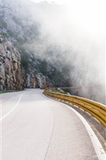Preview iPhone wallpaper Road, mountain, fog
