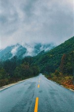 Preview iPhone wallpaper Road, mountains, house, fog, autumn
