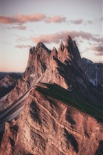 Rock mountain, peak, dusk