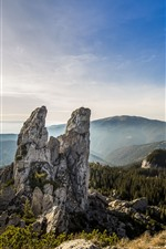 Preview iPhone wallpaper Rocks, mountains, forest, blue sky, Romania