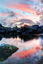 Preview iPhone wallpaper Rocks, puddle, clouds, sunset