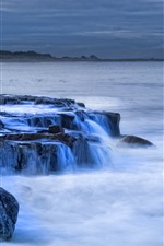 Preview iPhone wallpaper Rocks, sea, water stream, lighthouse