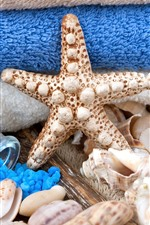 Preview iPhone wallpaper SPA theme, starfish, bath salt, shells, towel