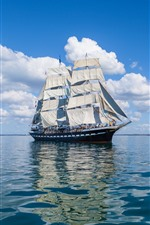 Preview iPhone wallpaper Sail ship, sea, clouds