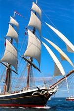 Preview iPhone wallpaper Sailboat, sea, blue sky