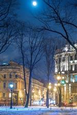 미리보기 iPhone 배경 화면 상트 페테르부르크, 러시아, 나무, 눈, 건물, 밤