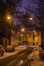 Preview iPhone wallpaper Saint Petersburg, night, snow, trees, lights, road, cars, winter, Russia