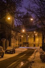 미리보기 iPhone 배경 화면 상트 페테르부르크, 밤, 눈, 나무 등도로, 자동차, 겨울, 러시아