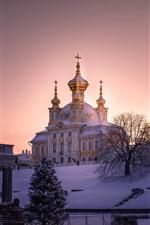 미리보기 iPhone 배경 화면 상트 페테르부르크, 두꺼운 눈, 교회, 나무, 아침, 겨울
