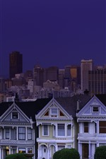 Preview iPhone wallpaper San Francisco, USA, city, night, houses, moon