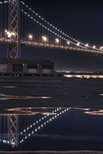 Preview iPhone wallpaper San Francisco, bridge, lighting, night, USA