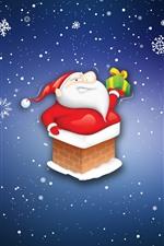 미리보기 iPhone 배경 화면 산타 클로스, 선물, 눈송이, 만화