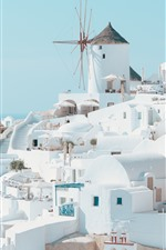 Preview iPhone wallpaper Santorini, Greece, white style houses, city