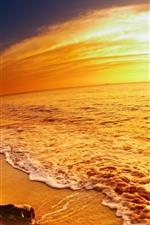 Mar, praia, estilo dourado, pôr do sol