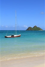 Preview iPhone wallpaper Sea, boat, beach, islands