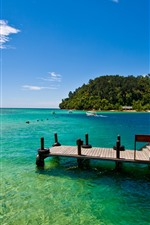 Sea, boat, pier, tropical, summer