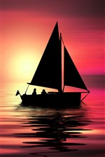 Preview iPhone wallpaper Sea, boat, sunset, creative picture