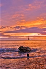Preview iPhone wallpaper Sea, boat, sunset, red sky