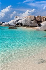 Preview iPhone wallpaper Sea, clear water, stones, beach, clouds, tropical