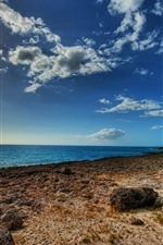 iPhone обои Море, побережье, камни, Голубое небо, солнце