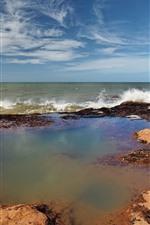 Sea, coast, water splash, nature landscape