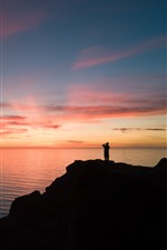 Preview iPhone wallpaper Sea, moon, sunset, man, silhouette