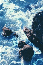 Preview iPhone wallpaper Sea, rocks, reef, waves, foam