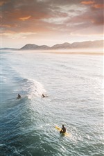 Preview iPhone wallpaper Sea, waves, surfing, clouds, sunrise, dawn