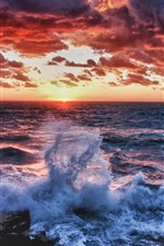 Preview iPhone wallpaper Sea, waves, water splash, sunset, thick clouds