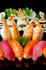 Preview iPhone wallpaper Seafood, sushi, delicious food, black background