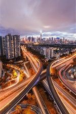 Shenzhen, city, roads, buildings, light lines, China