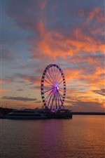 Preview iPhone wallpaper Ship, ferris wheel, river, clouds, sunset