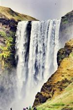 Preview iPhone wallpaper Skogafoss, waterfall, Iceland