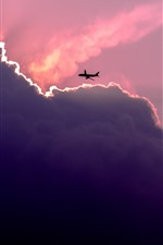 Preview iPhone wallpaper Sky, clouds, plane