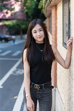 Preview iPhone wallpaper Smile Asian girl, long hair, street, wall