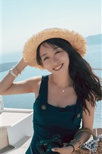 Preview iPhone wallpaper Smile Chinese girl, hat, summer, sea, Santorini, Greece