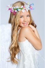Preview iPhone wallpaper Smile blonde angel girl, flowers, child