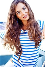 Preview iPhone wallpaper Smile girl, brown hair, yacht