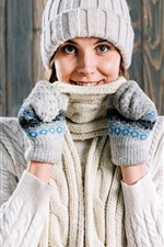 Smile girl, sweater, hat, winter