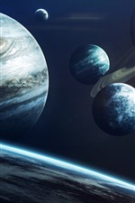 Preview iPhone wallpaper Solar system, planets, jupiter, universe
