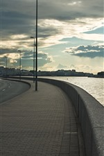Preview iPhone wallpaper St. Petersburg, embankment, river, city, clouds, Russia