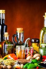 Still life, nuts, bottles, vegetables, bowl