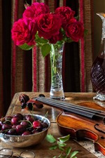 Preview iPhone wallpaper Still life, violin, candles, roses, pocket watch, cherry, wine