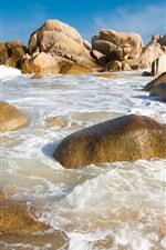 Stones, sea, waves, foam, coast, beach
