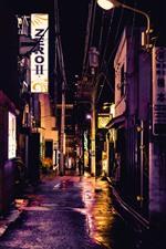Rua, cidade, beco, noite, luzes, Japão