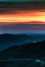 Preview iPhone wallpaper Sunset, mountains, road, dusk